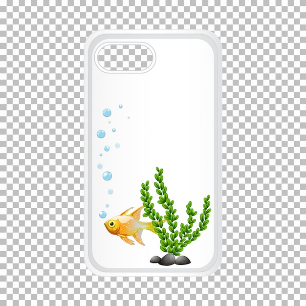 Phone case design with goldfish Free Vector