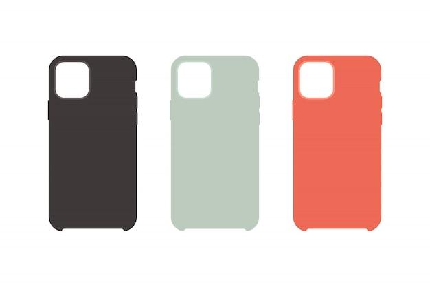 Phone case icons set flat style Premium Vector