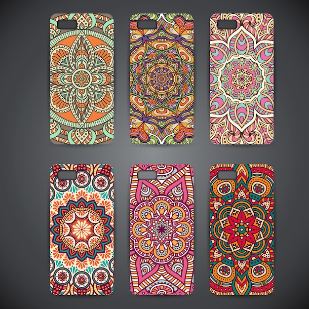 Phone cases with mandalasv Free Vector