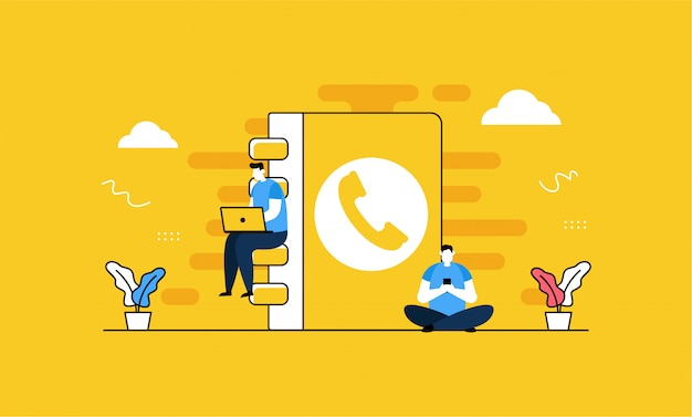 Phone contact in flat style Premium Vector