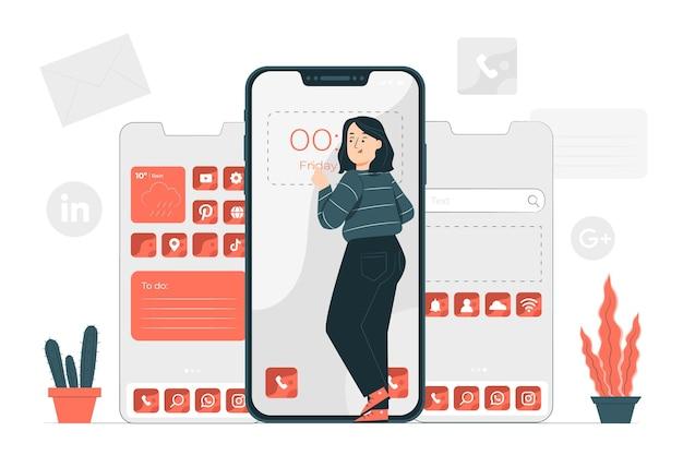 Иллюстрация концепции настройки телефона Бесплатные векторы