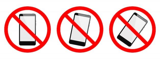 電話禁止ベクトル記号。電話がない、白い背景にスマートフォンのサインがない。分離された携帯電話の兆候のセット Premiumベクター