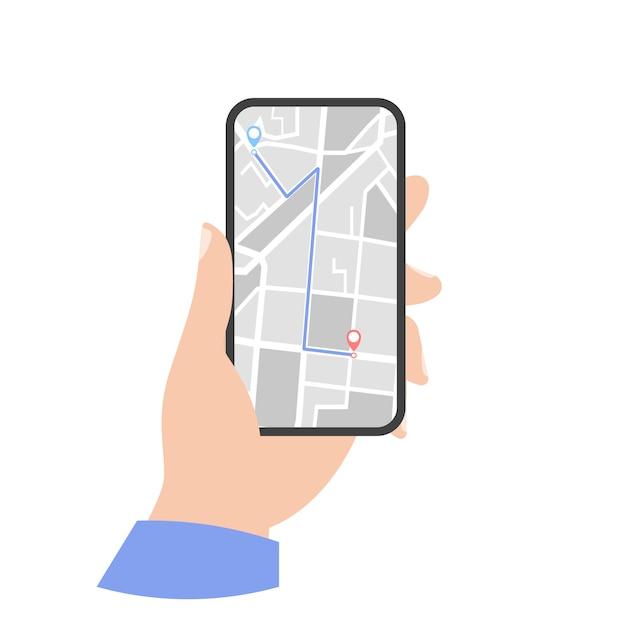 Phone gps map icon. phone in hand Premium Vector