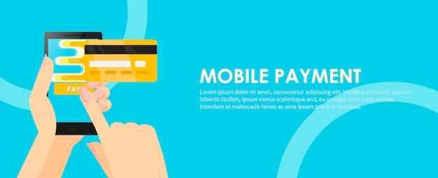 Phone in hands with a credit card. payment online from mobile. Free Vector