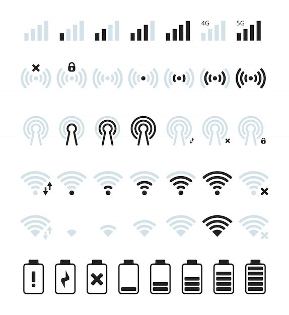 Phone mobile signal. wifi and mobile status bar connection icon gsm batteries level pictures Premium Vector