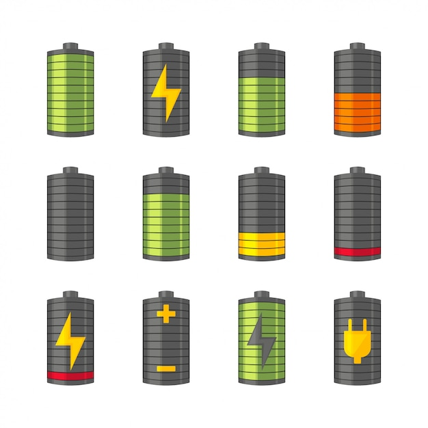 Phone or smartphone battery icons with various charges from fully charged to empty. isolated on the white background. illustration. Premium Vector