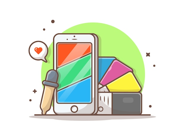 Phone with rgb colors and cmyk colors palette Premium Vector