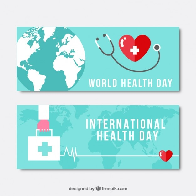 Phonendoscope and first aid kit health day\ banners