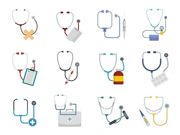 Phonendoscope stethoscope icons set Premium Vector