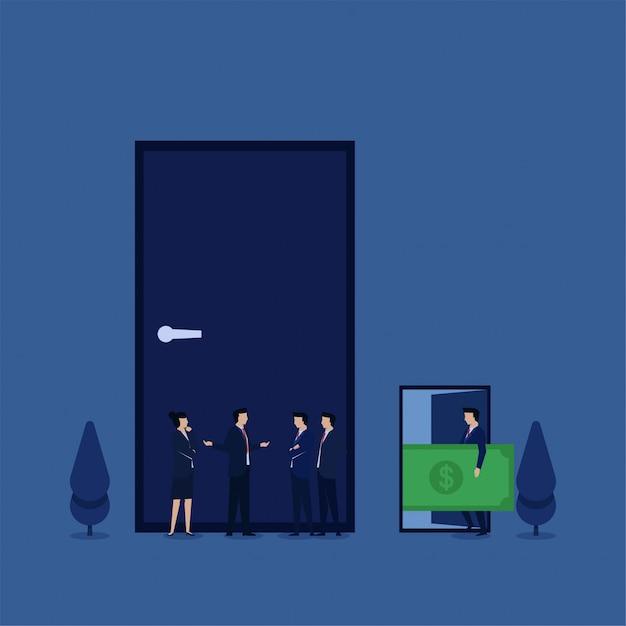 ビジネスフラットベクトル概念チームは、腐敗のお金の隠phorと他の開いているドアの前に閉じたドアの前で議論します。 Premiumベクター