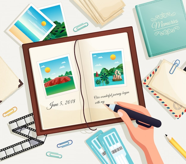 Photo album cartoon illustration with human hand holding pencil for writing explanation under photograph in scrapbook page Free Vector