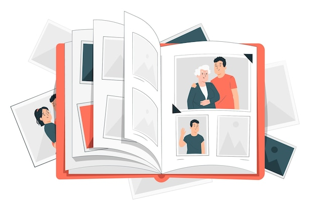 Иллюстрация концепции фотоальбома Бесплатные векторы