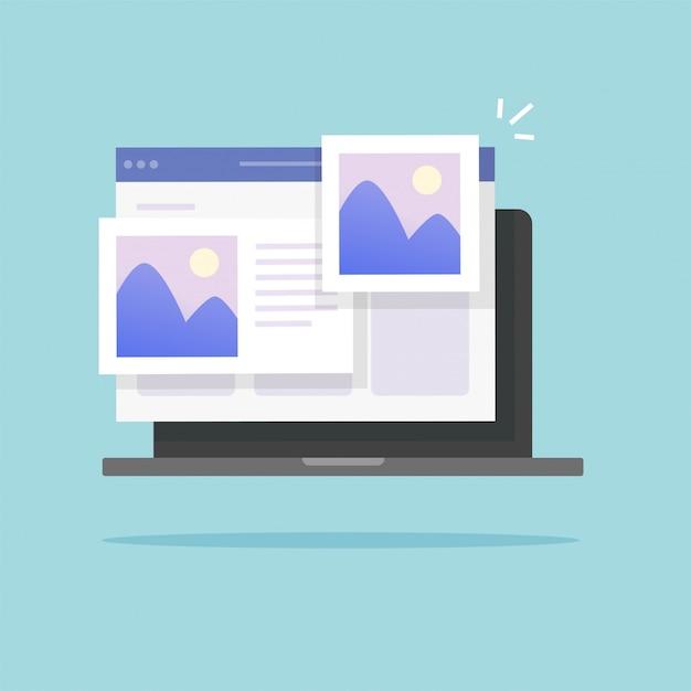 Фотоальбом онлайн на ноутбуке Premium векторы