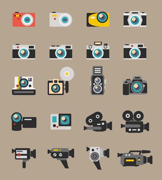 写真とビデオカメラのフラットアイコン。デジタル写真技術、レンズ機器、ポラロイドベクトルイラスト 無料ベクター