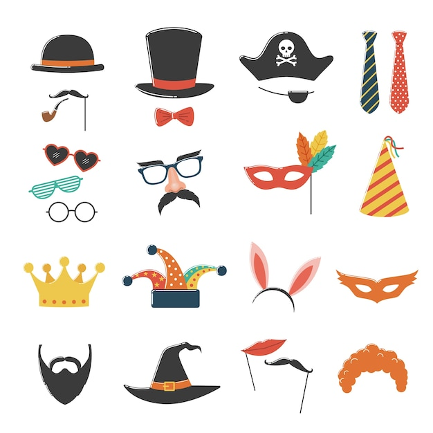 Photo booth birthday and party set with hat, mask, costume, glasses and beard Premium Vector