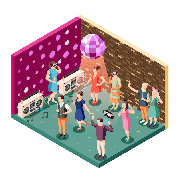 Photo booth event celebration isometric composition with disco ball party speakers and people holding props Free Vector