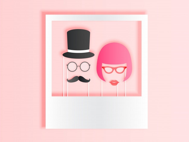 Photo booth items for couple in paper art style with pastel color scheme vector illustrati Premium Vector