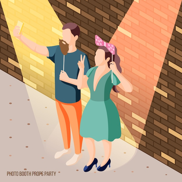 Photo booth party celebration isometric brick wall   with couple holding props in spotlights Free Vector