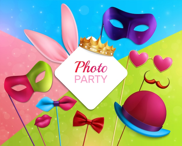 Photo booth party composition Free Vector