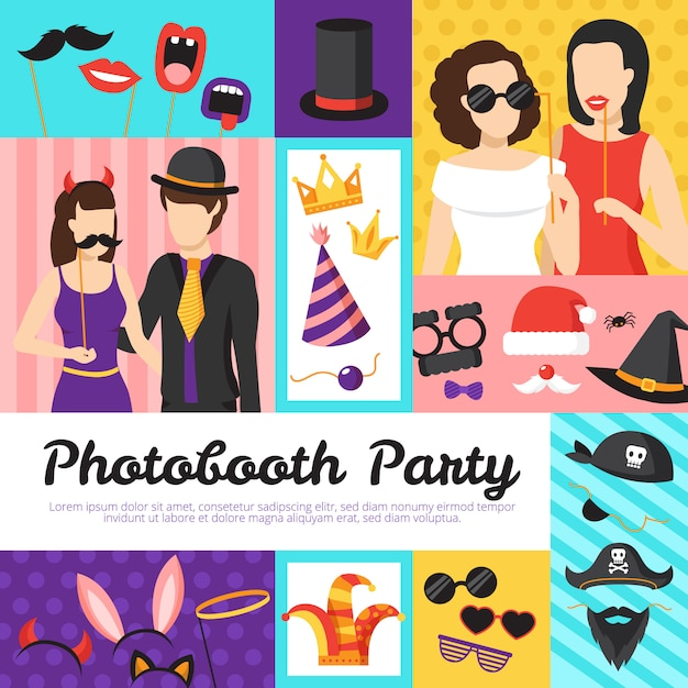 Photo booth party design concept with hats and glasses Free Vector