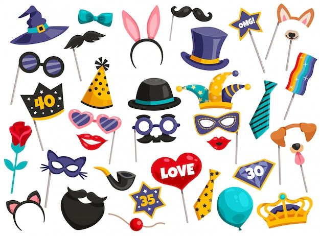 Photo booth party icon set Free Vector