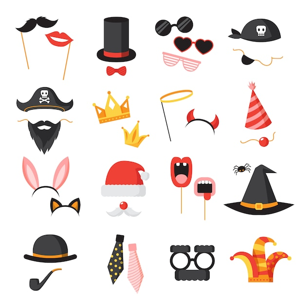 Photo booth party icons set with ears beard and glasses flat isolated vector illustration Free Vector