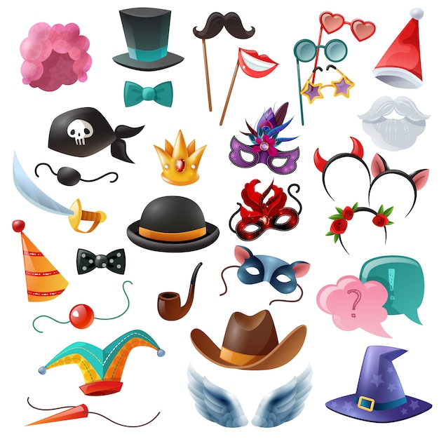 Photo booth party icons set Free Vector