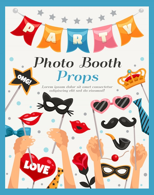 Photo booth party props poster Free Vector