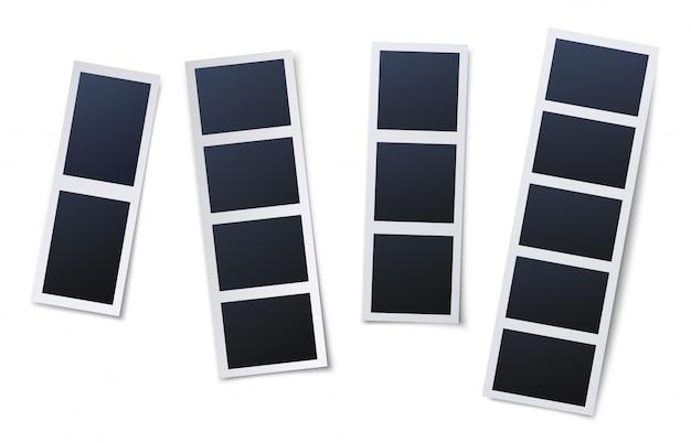 사진 부스 액자. 빈티지 스냅 샷, 즉석 사진 및 사진 스트립 일러스트 세트 프리미엄 벡터