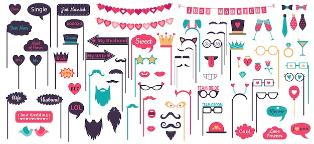 Photo booth props. wedding speech bubble frames, doodle love heart frame, mustache and glasses on prop Free Vector