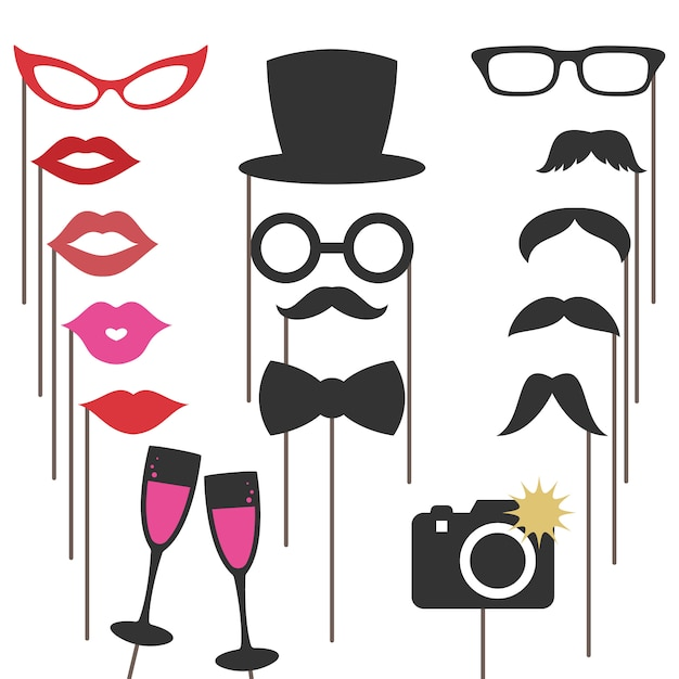 Photo booth props for weddings Premium Vector