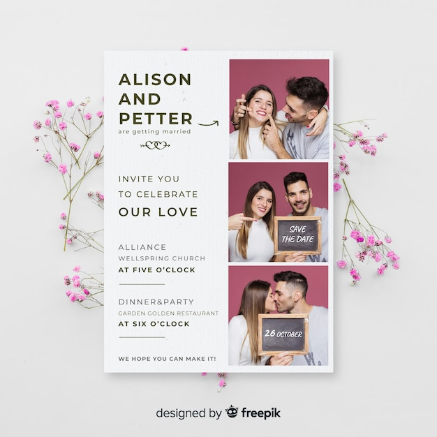 Photo booth wedding invitation template Free Vector