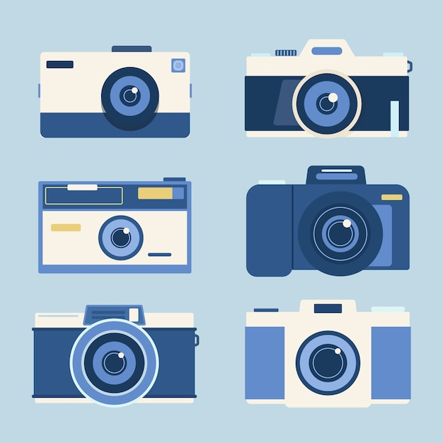 Photo camera collection in flat design