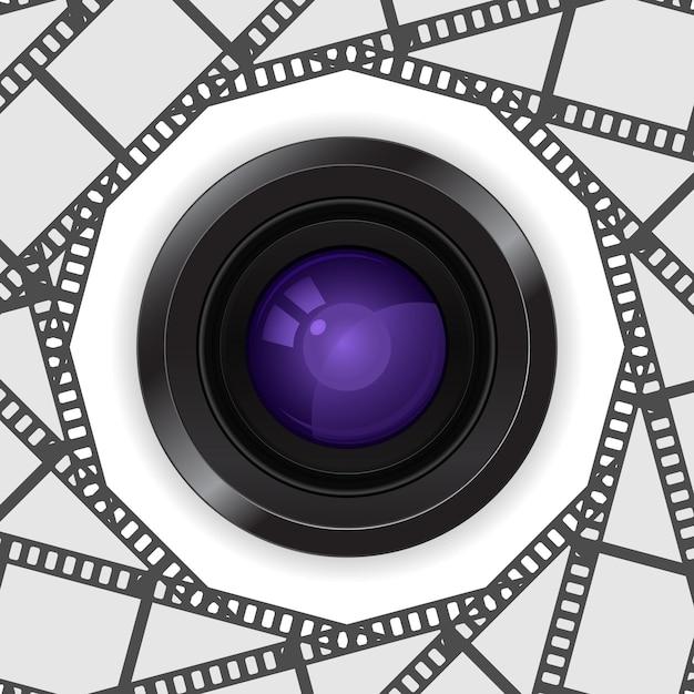 Объектив фотоаппарата 3d в пленочной катушке Premium векторы