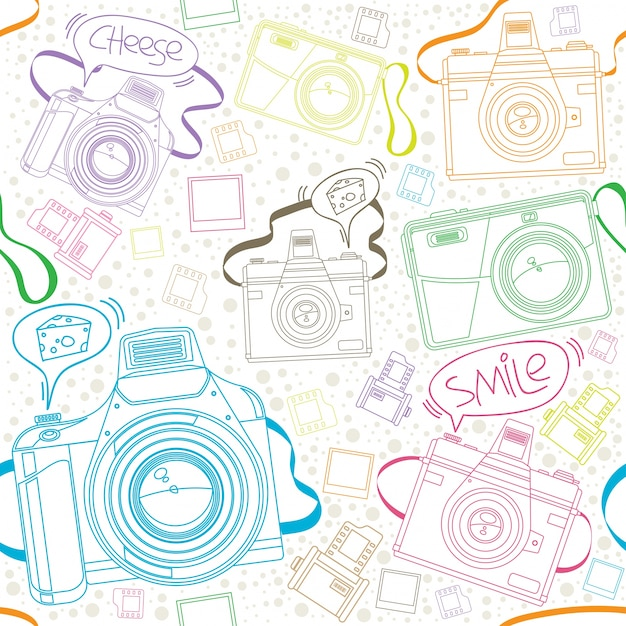 Photo Camera Seamless Pattern Vector Background Premium