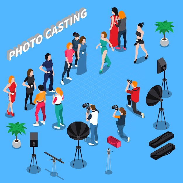 Photo casting isometric composition Free Vector