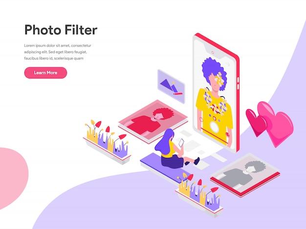 Photo filter isometric illustration concept Premium Vector