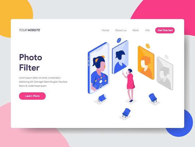 Photo filter isometric illustration Premium Vector