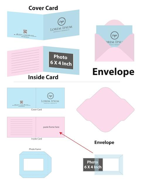 Photo frame card with envelope dieline mockup Premium Vector