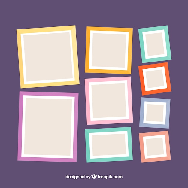 Photo Frame Collage Composition With Flat Design Vector