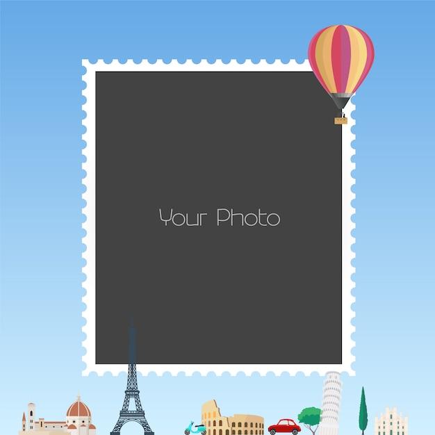 Photo frame collage  illustration Premium Vector