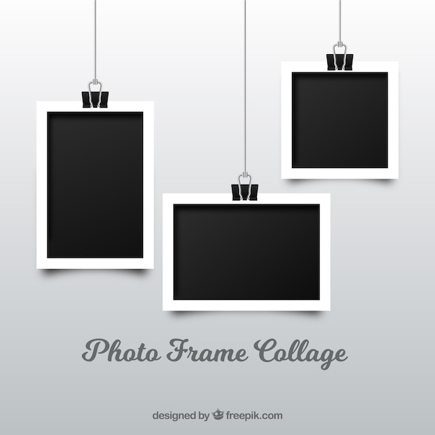 Photo frame collage in realistic style Free Vector