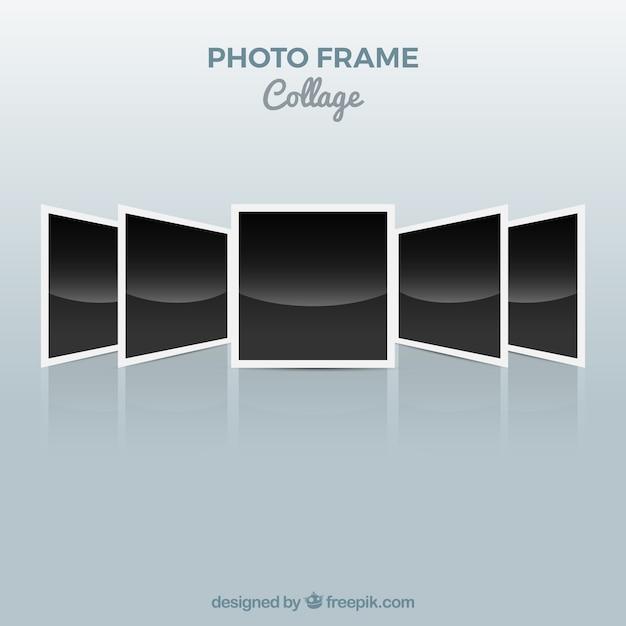 Photo frame collage polaroid concept Free Vector