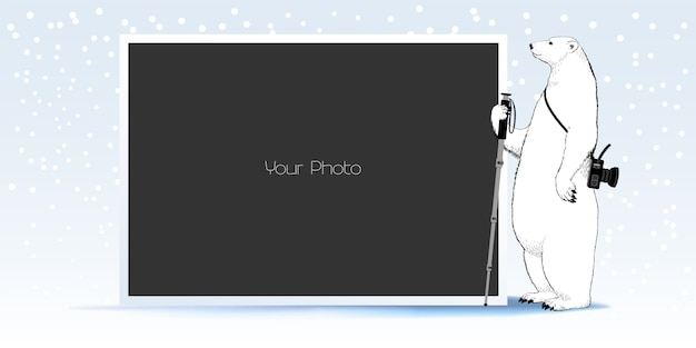 Photo frame collage, scrapbook  for winter or christmas  illustration Premium Vector