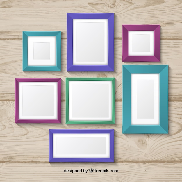 Photo frame colorful collage concept on wood background Vector ...