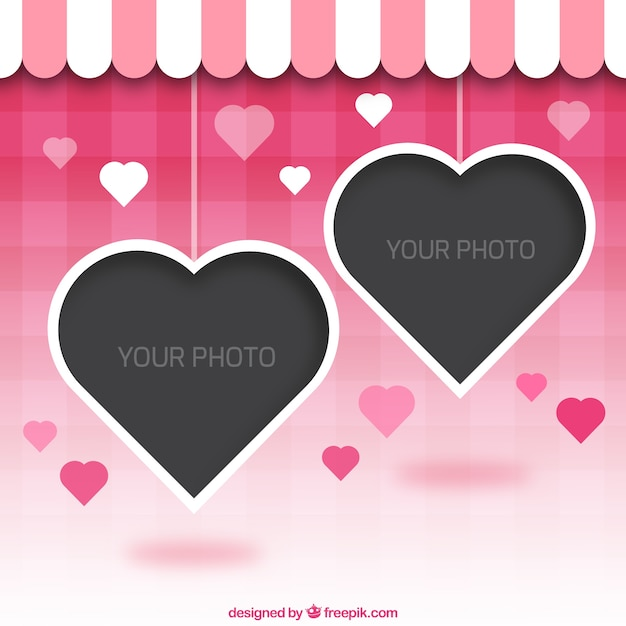 8c447483d03 Photo frame heart shaped Free Vector