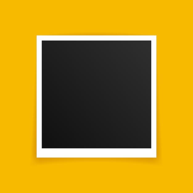 Photo frame mockup design. photo frame isolated on yellow background. Premium Vector