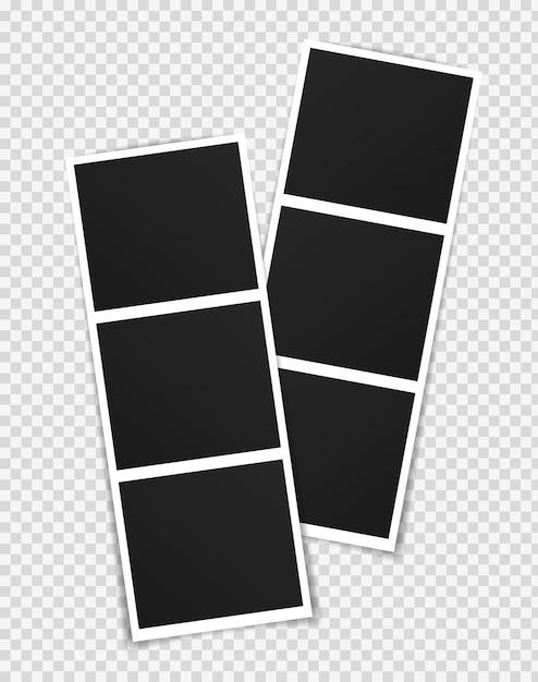 Photo frame mockup design. photo frame on sticky tape isolated on transparent background. Premium Vector