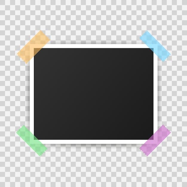 フォトフレームモックアップデザイン。リアルな写真。図。 Premiumベクター