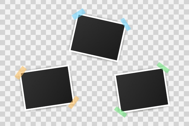 Photo frame mockup design. realistic photograph with blank space for your image. Premium Vector